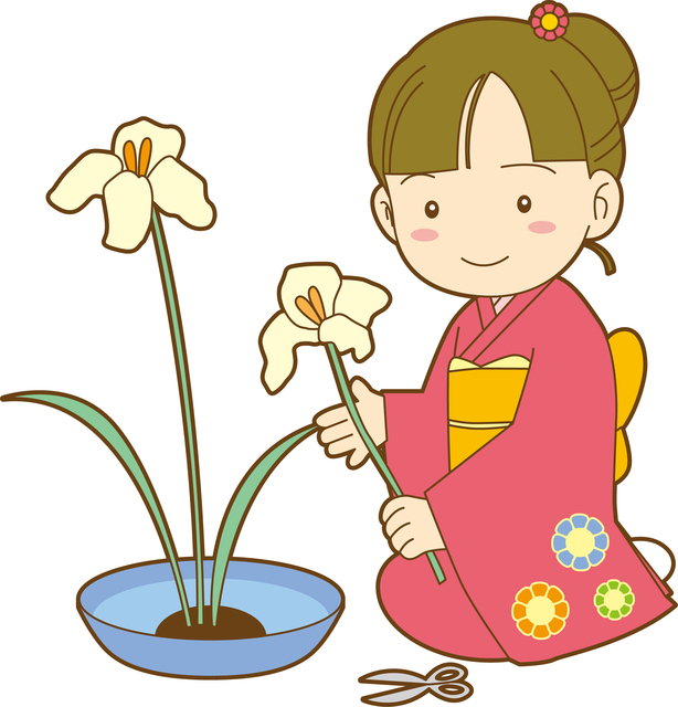 Image result for cartoon children flower arranging